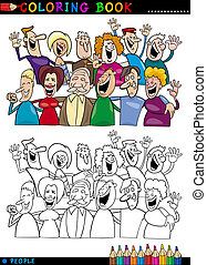 heureux, coloration, groupe, gens