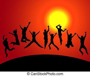 heureux, coucher soleil, gens
