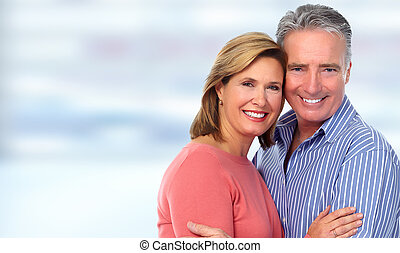 heureux, couple., personne agee