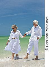 heureux, couples aînés, marche, tenant mains, sur, a, plage tropicale