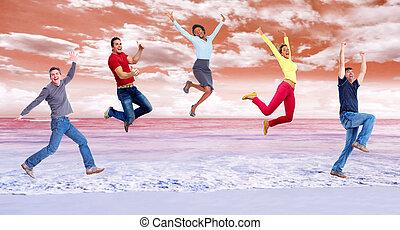 heureux, courant, group., sauter, gens