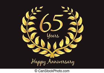 heureux, couronne, 65th, laurier, or, anniversaire