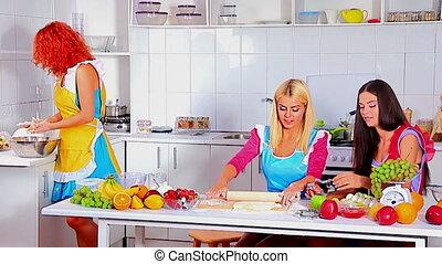heureux, cuisine, jeune famille, kitchen.