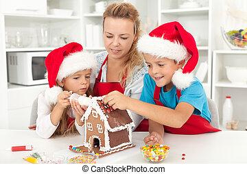 heureux, cuisine, noël, temps famille