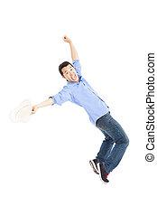heureux, danse, asiatique, jeune homme