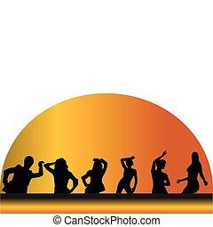 heureux, danse, gens