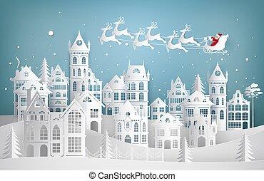 heureux, deers., art, year., noël, claus, nouveau, illustration, ville, vecteur, santa, papier, joyeux, traîneau, venir