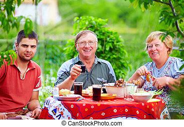 heureux, dehors, coloré, pique-nique famille