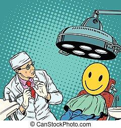 heureux, dentiste, effrayé, faces