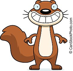 heureux, dessin animé, écureuil