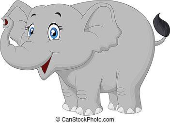 heureux, dessin animé, éléphant