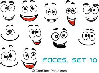 heureux, dessin animé, émotions, faces