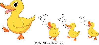 heureux, dessin animé, canard famille