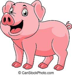 heureux, dessin animé, cochon