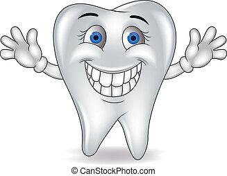 heureux, dessin animé, dent