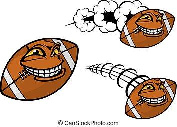 heureux, dessin animé, football, ou, balle rugby