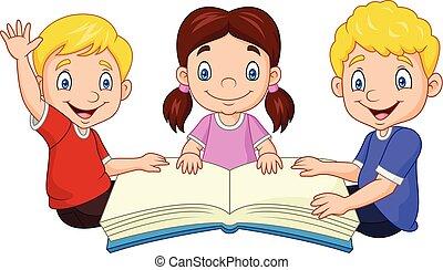heureux, dessin animé, gosses, livre, lecture