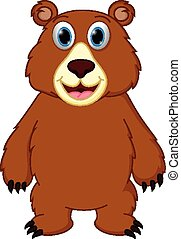 heureux, dessin animé, ours