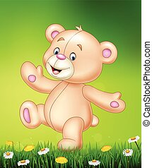 heureux, dessin animé, ours, teddy