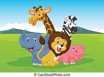 heureux, dessin animé, safari, animal