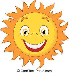 heureux, dessin animé, soleil