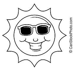 heureux, dessin animé, soleil, vecteur
