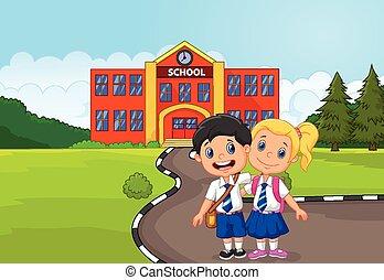 heureux, deux, debout, étudiants, dessin animé
