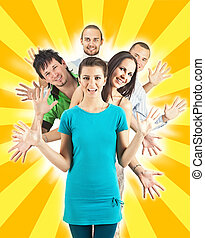 heureux, diffusion, gens, mains