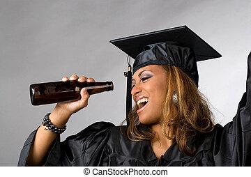heureux, diplômé, partying