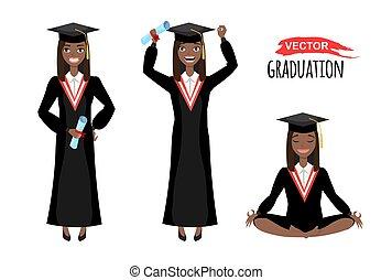heureux, diplômés, américain noir, africaine, illustration, mortarboard, vecteur