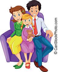 heureux, divan, famille, séance