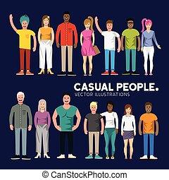 heureux, divers, gens