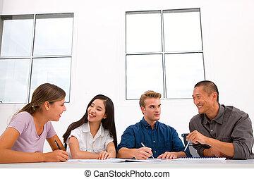 heureux, divers, réunion, professionnels
