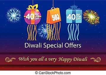 heureux, diwali, vacances, offre