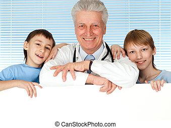 heureux, docteur, caucasien, enfant