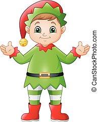 heureux, elfe, noël, dessin animé