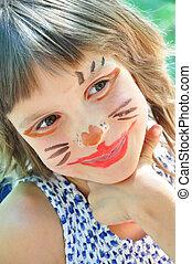 heureux, enfant, à, rigolote, peint, figure