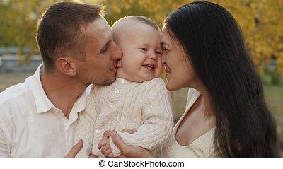 heureux, enfant, famille, nature