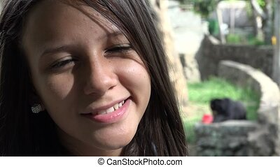 heureux, enfant, fille souriante