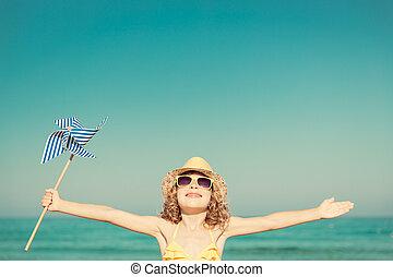 heureux, enfant, sur, vacances été