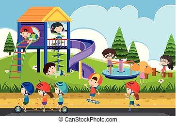 heureux, enfants, cour de récréation, jouer
