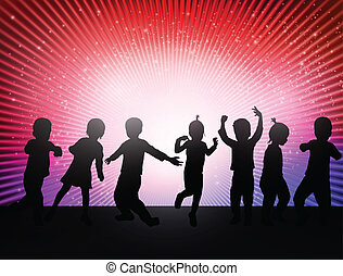 heureux, enfants, danse