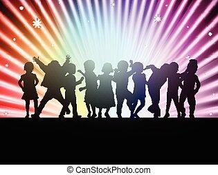heureux, enfants, ensemble, danse