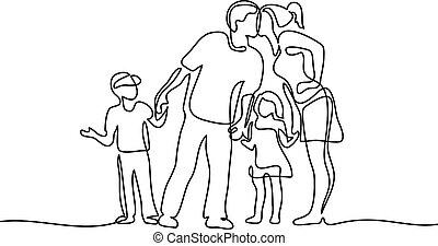 heureux, enfants, famille, deux