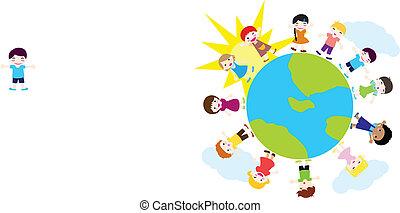 heureux, enfants, fond, nature