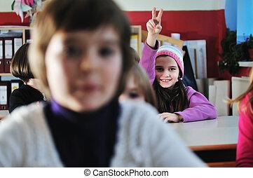heureux, enfants, groupe, dans, école
