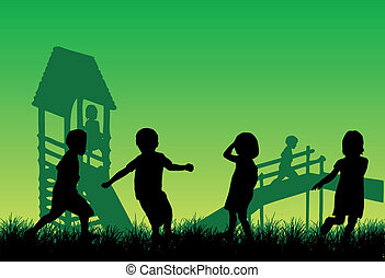 heureux, enfants jouer, vecteur, travail