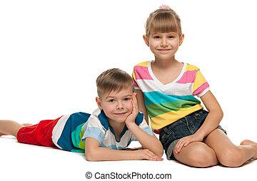 heureux, enfants, plancher