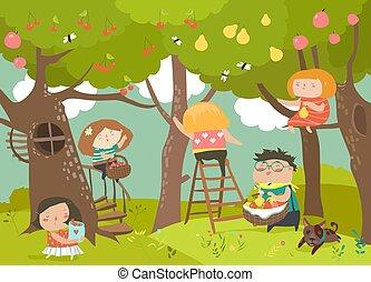 heureux, enfants, récolte