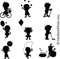 heureux, enfants, silhouettes, fond